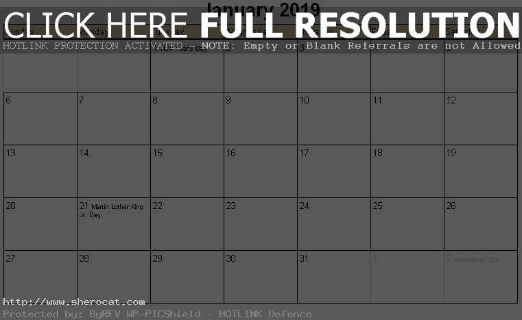 January 2019 Calendar Landscape With Holidays