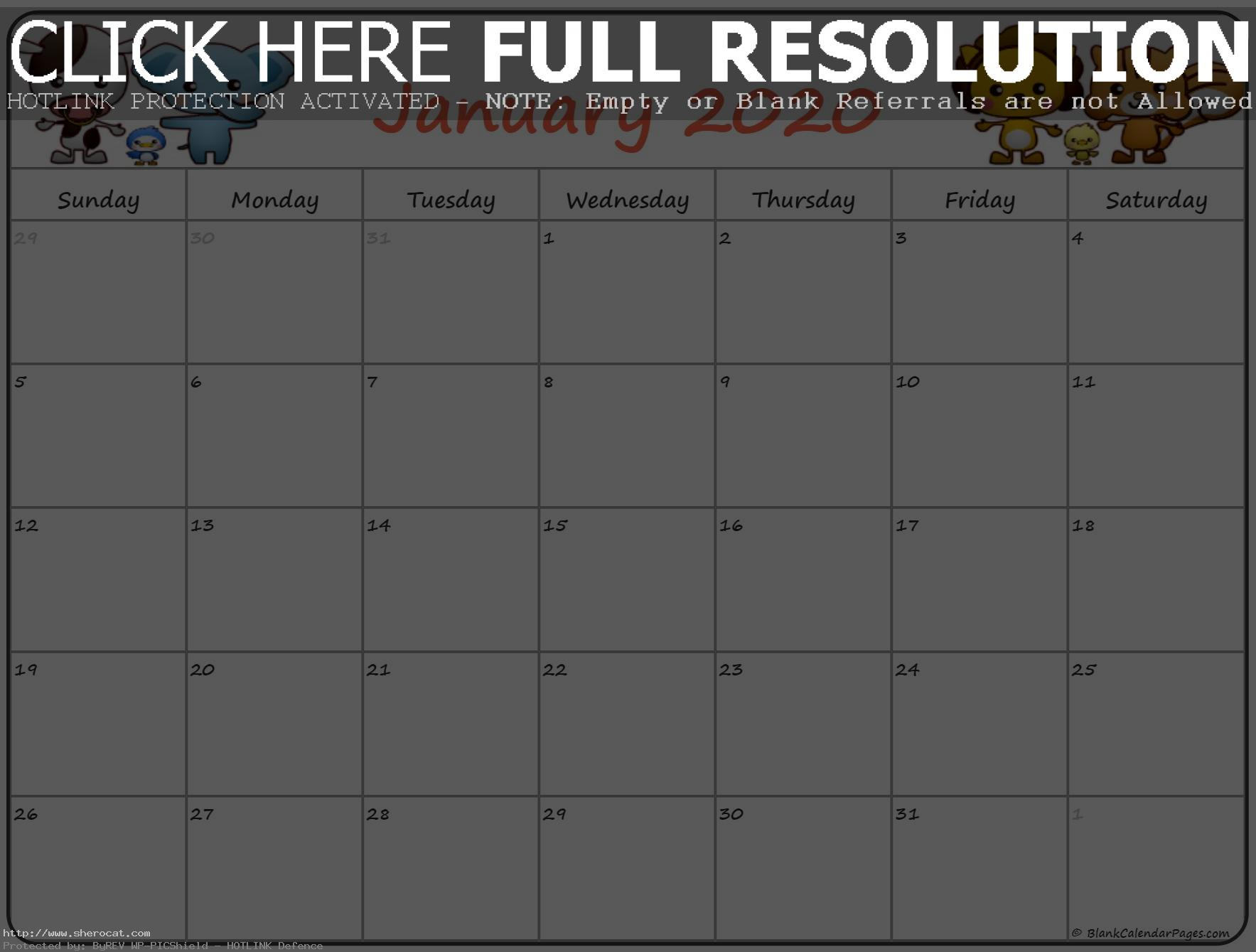 Cute January 2020 Calendar for Kids