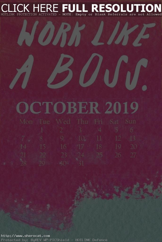 Watercolor October 2019 iPhone Calendar
